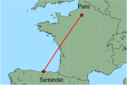 Map of route from Santander to Paris (Beauvais)
