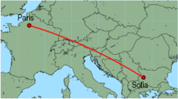 Map of route from Sofia to Paris(Beauvais)