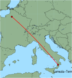 Map of route from Lamezia-Terme to Paris(Beauvais)