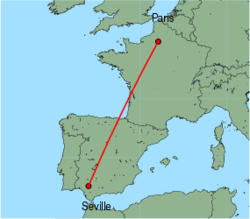 Map of route from Seville to Paris(Beauvais)