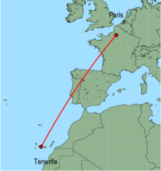 Map of route from Tenerife (Sur) to Paris (Beauvais)