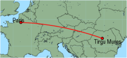 Map of route from Paris (Beauvais) to Tirgu Mures