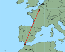 Map of route from Tangier to Paris (Beauvais)