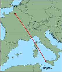 Map of route from Trapani to Paris (Beauvais)