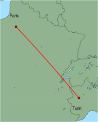 Map of route from Turin to Paris (Beauvais)