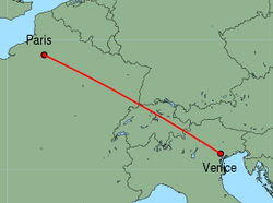 Map of route from Venice(Treviso) to Paris(Beauvais)