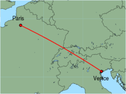 Map of route from Paris (Beauvais) to Venice (Marco Polo)