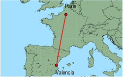 Map of route from Valencia to Paris(Beauvais)