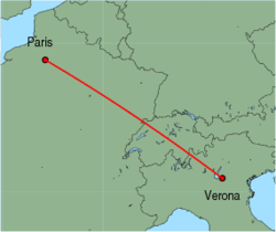 Map of route from Verona (Villafranca) to Paris (Beauvais)