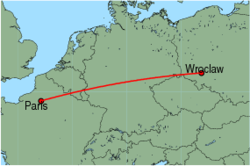 Map of route from Wroclaw to Paris (Beauvais)