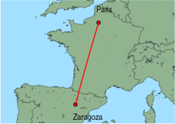 Map of route from Zaragoza to Paris (Beauvais)
