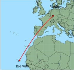 Map of route from Frankfurt(International) to Boa Vista