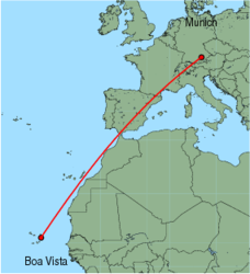 Map of route from Munich to Boa Vista