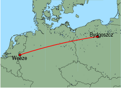 Map of route from Bydgoszcz to Weeze