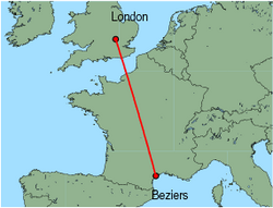 Map of route from London (Luton) to Beziers