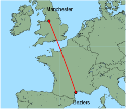 Map of route from Manchester to Beziers