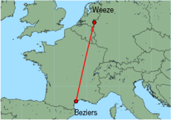 Map of route from Beziers to Weeze