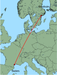 Map of route from Stockholm(Skavsta) to Beziers
