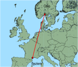 Map of route from Oslo (Rygge) to Beziers