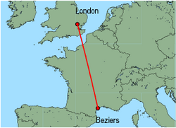 Map of route from London (Stansted) to Beziers