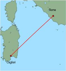 Map of route from Cagliari to Rome(Ciampino)