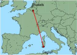 Map of route from Cagliari to Brussels (Charleroi)