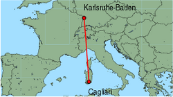 Map of route from Cagliari to Karlsruhe-Baden