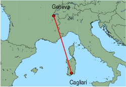 Map of route from Cagliari to Geneva