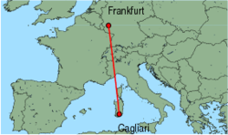 Map of route from Cagliari to Frankfurt(Hahn)