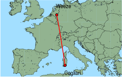 Map of route from Cagliari to Weeze