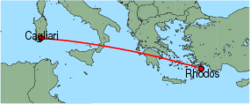Map of route from Cagliari to Rhodos