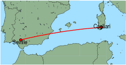 Map of route from Cagliari to Seville