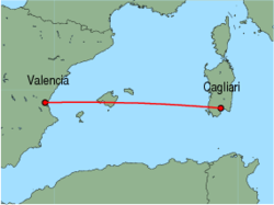 Map of route from Cagliari to Valencia
