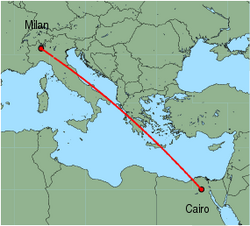 Map of route from Milan (Malpensa) to Cairo