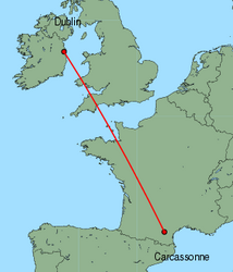 Map of route from Dublin to Carcassonne