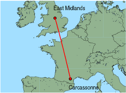 Map of route from East Midlands to Carcassonne