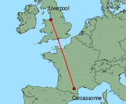 Map of route from Liverpool to Carcassonne