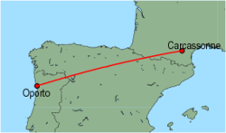 Map of route from Oporto to Carcassonne
