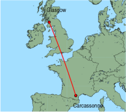 Map of route from Glasgow (Prestwick) to Carcassonne