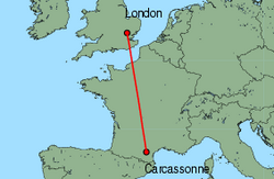 Map of route from London(Stansted) to Carcassonne