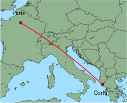 Map of route from Corfu to Paris (Charles de Gaulle)