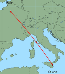Map of route from Catania to Paris(CharlesdeGaulle)