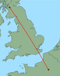 Map of route from Paris (Charles de Gaulle) to Glasgow (International)