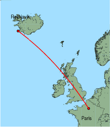 Map of route from Reykjavik to Paris (Charles de Gaulle)