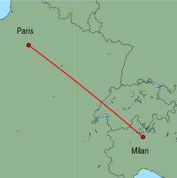 Map of route from Milan(Malpensa) to Paris(CharlesdeGaulle)