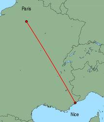 Map of route from Nice to Paris (Charles de Gaulle)