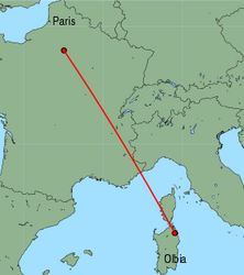 Map of route from Olbia to Paris (Charles de Gaulle)