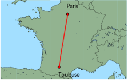 Map of route from Toulouse to Paris(CharlesdeGaulle)