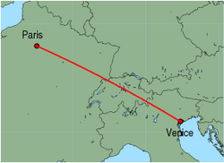 Map of route from Paris (Charles de Gaulle) to Venice (Marco Polo)