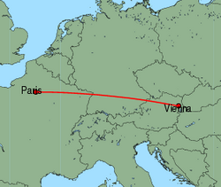Map of route from Vienna to Paris(CharlesdeGaulle)
